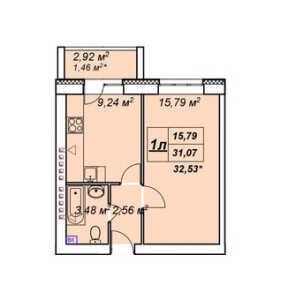 Планировка 1-комнатной квартиры в У пруда